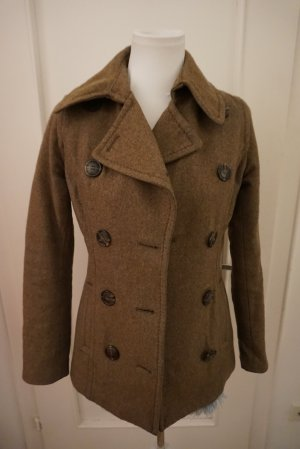 H&M Short Coat black brown-brown wool