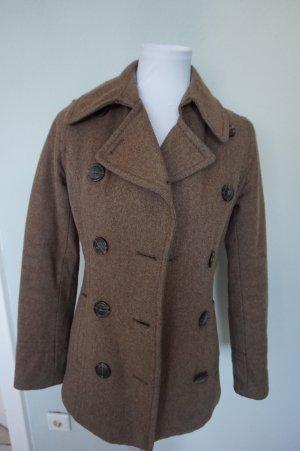 H&M Manteau court brun noir-brun laine