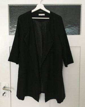 H&M Mantel Longcardigan Cardigan Jacke Schwarz Wildleder 3/4 Ärmel XS 34 NEU