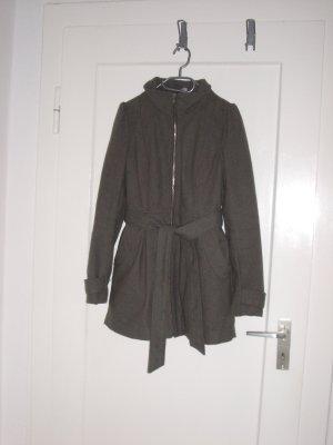 H&M Mantel mit silbernem Reißverschluss und Gürtel in grau