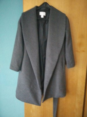 H&M Mantel Oversize Office grey grau anthrazit Wasserfall Wintermantel hip 36/S