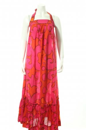 H&M Marimekko Maxi Dress orange-magenta abstract pattern beach look