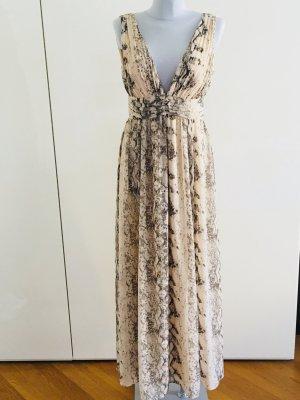 H&M Maxi-Kleid, festliches Kleid, Abendkleid, Python-Muster Puder/Taupegrau, Gr. 38 - ungetragen