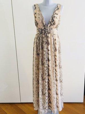 H&M Maxi-Kleid, festliches Kleid, Abendkleid, Python-Muster Puder/Taupegrau, Gr. 38 – ungetragen