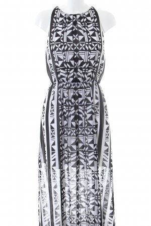 H&M Vestido largo negro-blanco estampado gráfico look casual