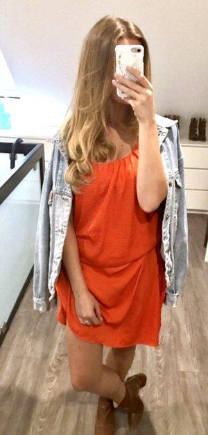 H&M Maxikleid Kleid knallrot neon rot Spaghetti Sommer Festival Ibiza Oversize