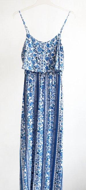 H&M Maxikleid mit zwei Schlitzen weiß/blau