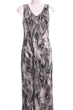 H&M Maxi-jurk zwart-room bloemenprint casual uitstraling