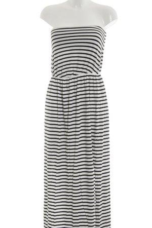 H&M Maxikleid weiß-schwarz Streifenmuster schlichter Stil