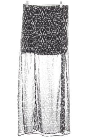 H&M Maxi gonna nero-bianco Stampe artistiche elegante