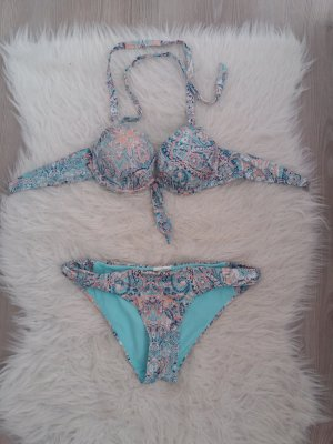 H&M mega Push up Bikini floral blau türkis 38 M