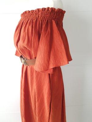 H&M Off the shoulder jurk goud-roodbruin