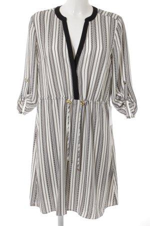 H&M Midikleid weiß-schwarz Streifenmuster Casual-Look