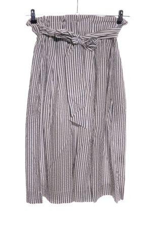 H&M Midirock weiß-schwarz Streifenmuster Casual-Look