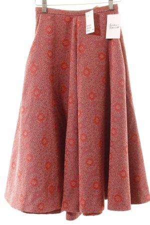 H&M Midirock hellrot Ornamentenmuster Street-Fashion-Look