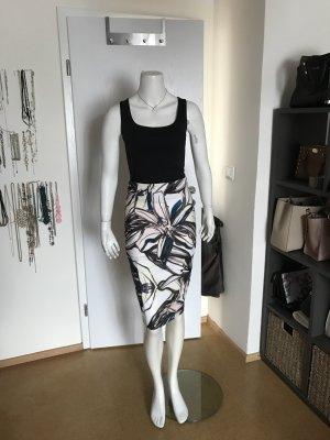 H&M Midi-rok wit-zwart