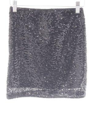 H&M Midirock schwarz Glitzer-Optik