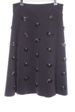 H&M Midirock schwarz-silberfarben Elegant