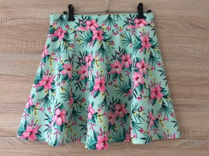 H&M Mini Rock Highwaist Faltenrock Minirock Tropical Floral Neon