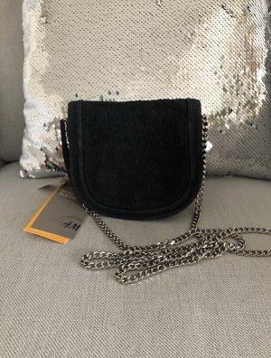 H&M Mini Tasche Unhängetasche Echtleder Leder Wildleder Schlangenoptik marineblau