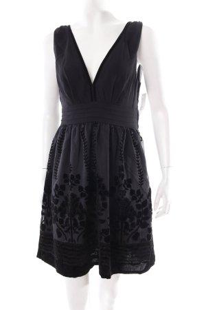 H&M Minikleid schwarz florales Muster Eleganz-Look