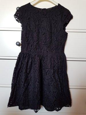 H&M Minikleid schwarz Spitzenoptik
