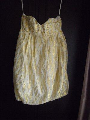 H&M Minikleid weiß mit gold
