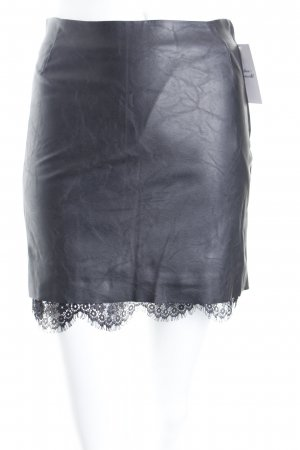 H&M Minirock schwarz Leder-Optik