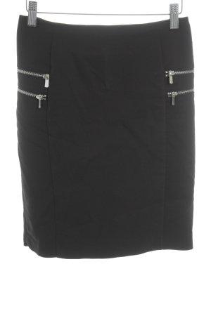 H&M Minirock schwarz-silberfarben Biker-Look