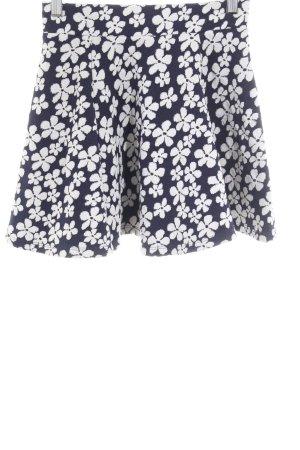 H&M Minirock weiß-dunkelblau Blumenmuster Beach-Look