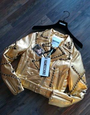 h&m Moschino Lederjacke Gold Gr S