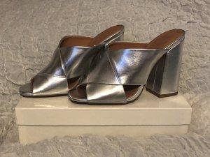H&M Heel Pantolettes silver-colored