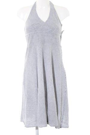 H&M Vestido de cuello Halter gris claro-blanco estampado a rayas look casual