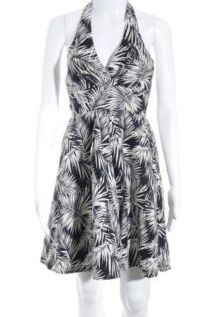 H&M Vestido de cuello Halter negro-blanco estampado floral estilo extravagante