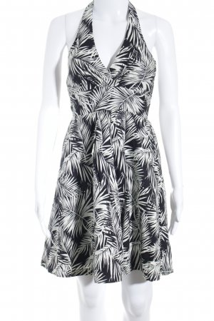 H&M Neckholderkleid schwarz-weiß florales Muster extravaganter Stil