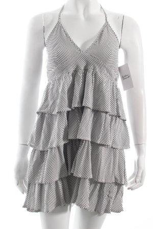 H&M Neckholderkleid weiß-schwarz Streifenmuster Volantbesatz
