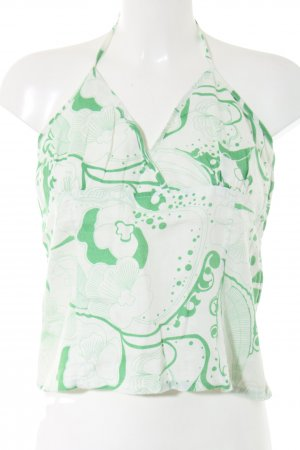 H&M Haltertop wit-groen abstract patroon casual uitstraling