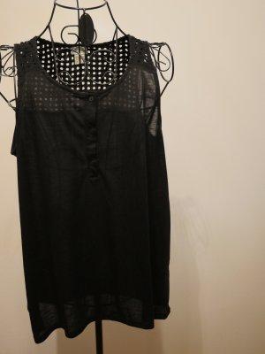 H&M Muscleshirt zwart Katoen