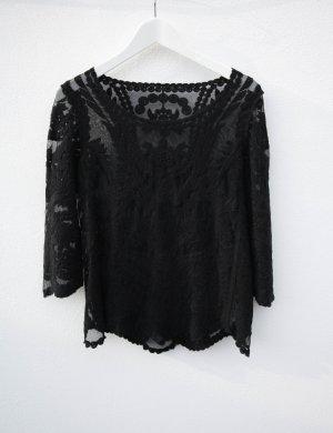 H&M Oberteil hm Hundm spitze schwarz Shirt vintage Lace Strick Longsleeve Häkel Häkelshirt Spitzentop