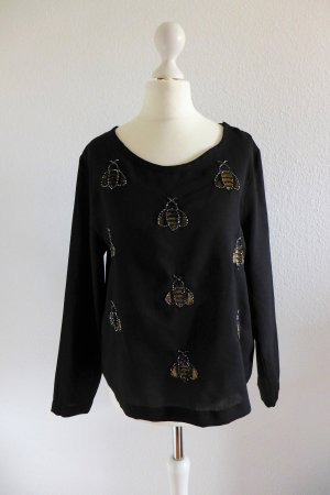 H&M Oberteil Shirt Bluse Langarm schwarz gold Biene Paillette 36/38 S