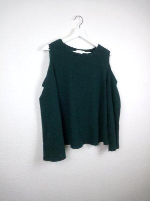h&m oberteil shirt pullover M 38 40 grün fashion blogger trompetenärmel schulterfrei