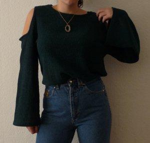 h&m oberteil shirt pullover M 38 40 grün fashion blogger trompetenärmel schulterfrei 70s style