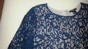 H&M Blusa in merletto blu-crema Tessuto misto