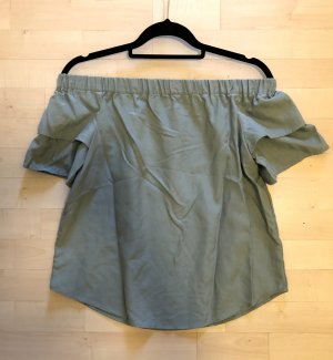 H&M Off Shoulder Bluse 36 / S schulterfrei Kurzarm Top seegrün neu