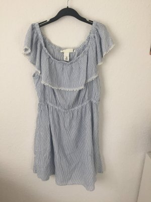 H&M Off Shoulder Kleid Blau Weiß gestreift