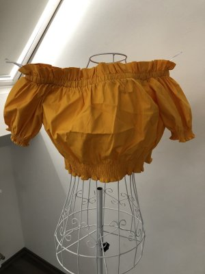 H&M Off the shoulder top licht Oranje-geel