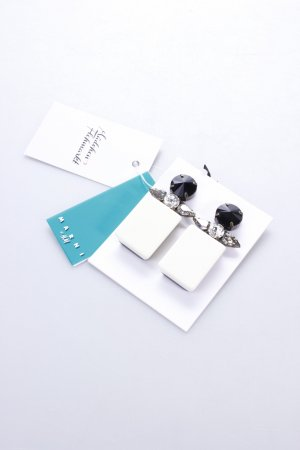 H&M Ohrclip weiß-schwarz Schmucksteinverzierung