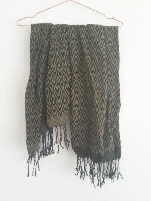 h&m Olivgrüner Schal/Tuch mit Azteken Muster schwarz cos acne