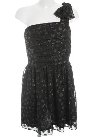 H&M One-Shoulder-Kleid schwarz Punktemuster Elegant