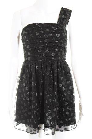H&M Abito monospalla nero-argento motivo a pallini stile festa